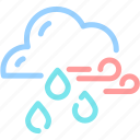 cloud, forecast, rain, waterdrop, wind icon