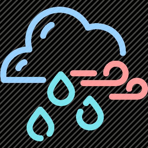 cloud, forecast, rain, waterdrop, wind icon