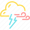 cloud, forecast, lightning, thunder, wind icon