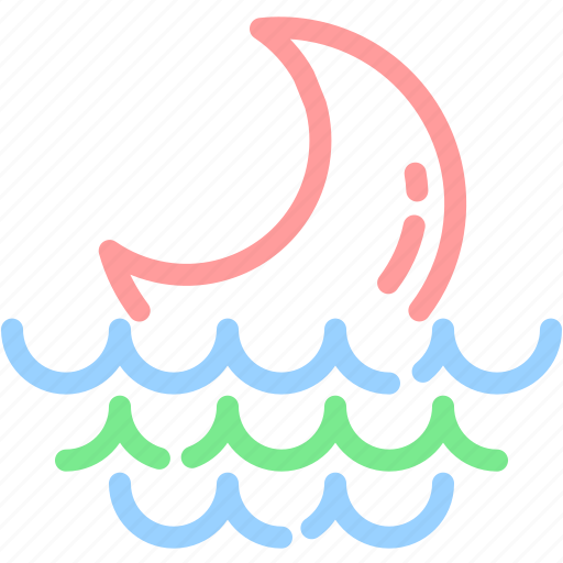 forecast, moon, moonrise, night, sea, water, wave icon