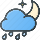 forcast, hard, night, rain, storm, weather icon