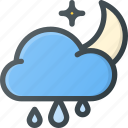 cloud, forcast, night, rain, rainy, weather icon