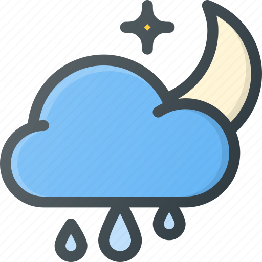 cloud, forcast, night, rain, rainy, weather icon