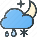 cloud, forcast, night, rain, snow, weather icon
