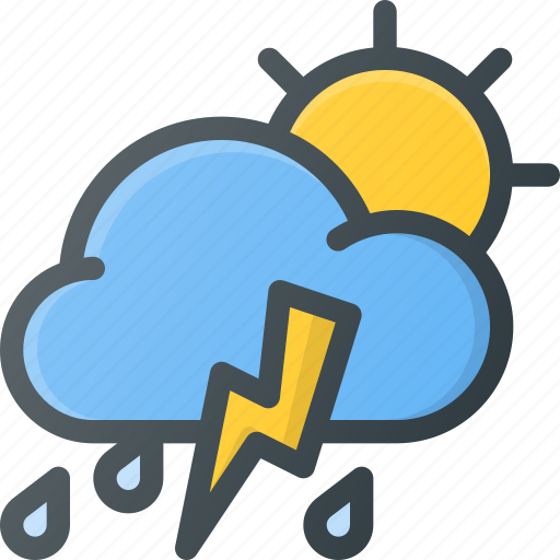 day, forcast, rain, storm, thunder, weather icon
