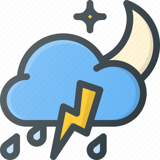 Forcast, night, rain, storm, thunder, weather icon - Download on Iconfinder