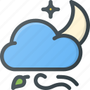 forcast, night, weather, wind, windy icon