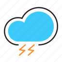 bad weather, climate, lightning, storm, thunder, weather icon