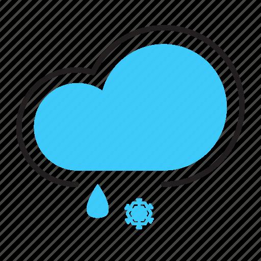 cloud, flurries, rain, snow, weather icon