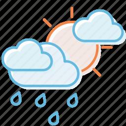 cloud, cloudy, rain, sun, weather icon