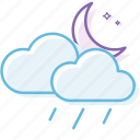 cloud, cloudy, night, rain, weather icon
