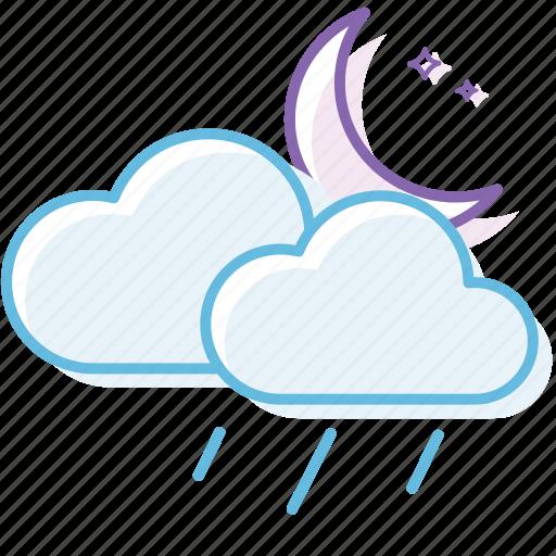 cloud, cloudy, night, rain, weather icon