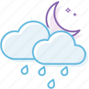 cloud, cloudy, night, rain1, weather icon