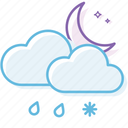 cloud, cloudy, night, snow, weather icon