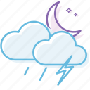cloud, cloudy, night, thunder, weather icon