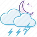 cloud, cloudy, night, thunder1, weather icon