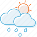 cloud, cloudy, rain, sunny, sunshine, weather icon