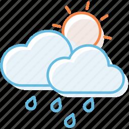 cloud, cloudy, rain, sunny, sunshine, weather icon