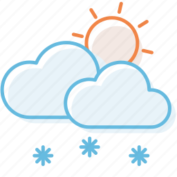 cloud, cloudy, snow, sunny, sunshine, weather icon