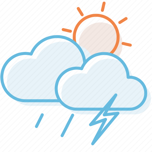 cloud, cloudy, sunny, sunshine, thundersshower, weather icon