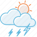 cloud, cloudy, sunny, sunshine, thunderstorm, weather icon