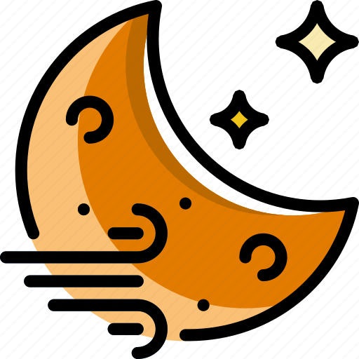 forecast, night, weather, windy icon