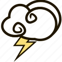 forecast, lightning, sky, storm, weather icon