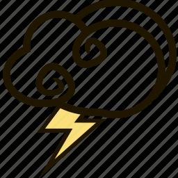 forecast, lightning, sky, storm, weather icon