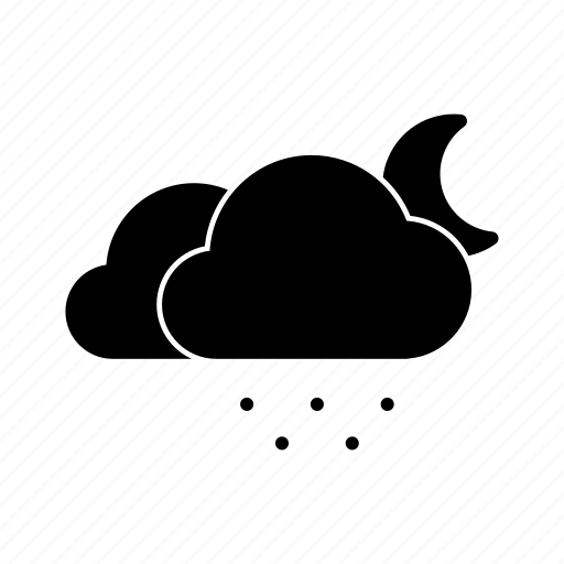 cloud, clouds, moon, night, snow, snowy, weather icon