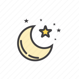 clean, forecast, moon, night, strars icon