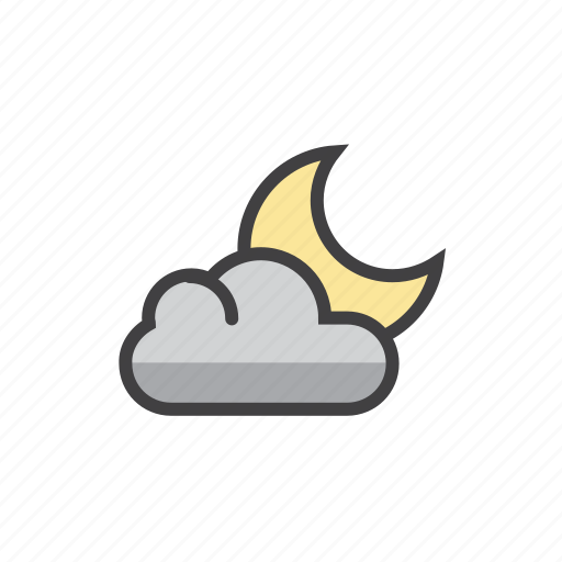cloud, forecast, moon, night, partly icon