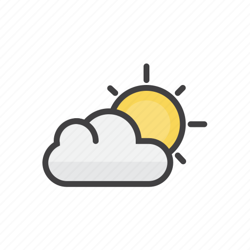 clouds, forecast, partly, sun, sunny icon