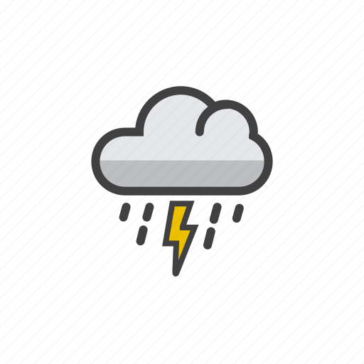 cloud, drops, forecast, rain, thunderstorm icon