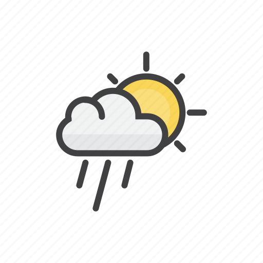 cloud, drops, forecast, shower, sun icon