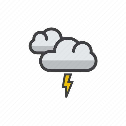cloud, forecast, partly, thunderstorm, weather icon