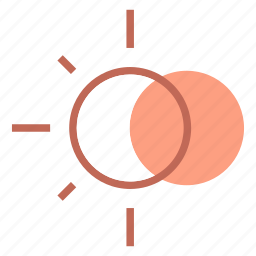 eclipse, forcast, moon, sun, weather icon