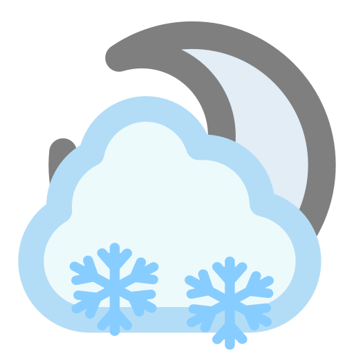 cloudy, moon, snow icon