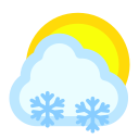 cloudy, snow, sun icon