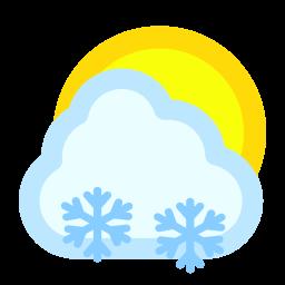 cloudy, snow, sun icon