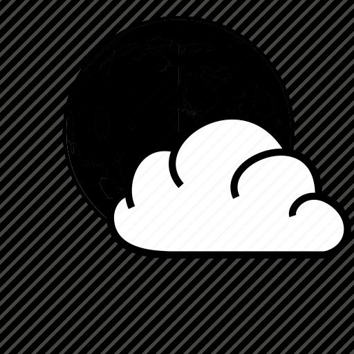 cloud, moon, sky, weather icon