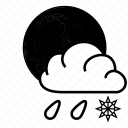 cloud, moon, rain, snow icon
