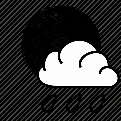 cloud, moon, rain, weather icon