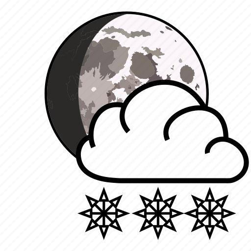 cloud, moon, snow, weather icon