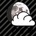 cloud, moon, rain, snow, weather icon