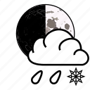 cloud, moon, rain, sky, snow, weather icon