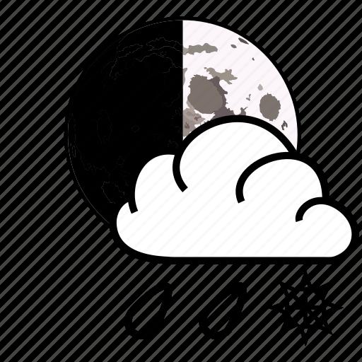 cloud, moon, rain, sky, snow, weather icon