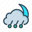 climate, cloud, moon, night, weahter icon