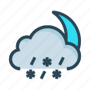cloud, moon, raining, snowfalling, weather icon
