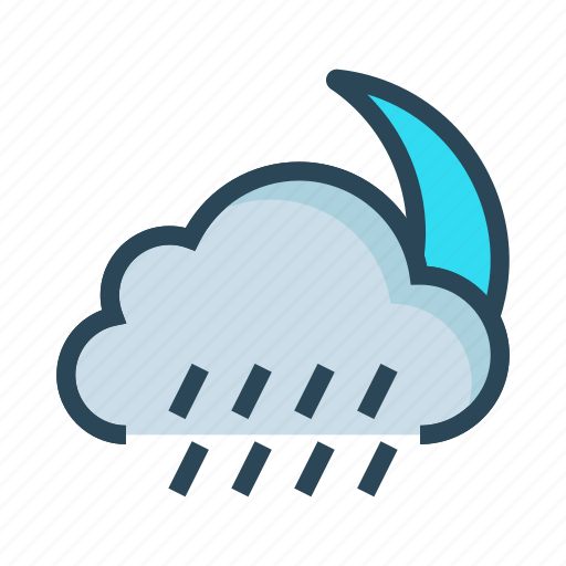 climate, cloud, moon, raining, weather icon