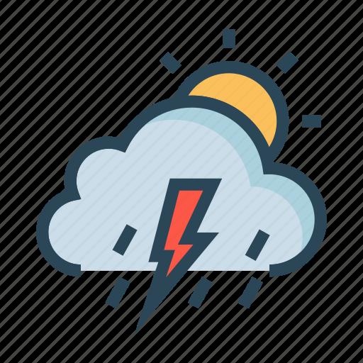 climate, cloud, day, raining, sun icon